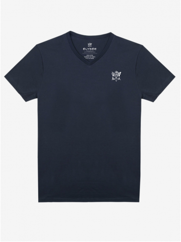 Blue embroidered Présidence de la République T-shirt
