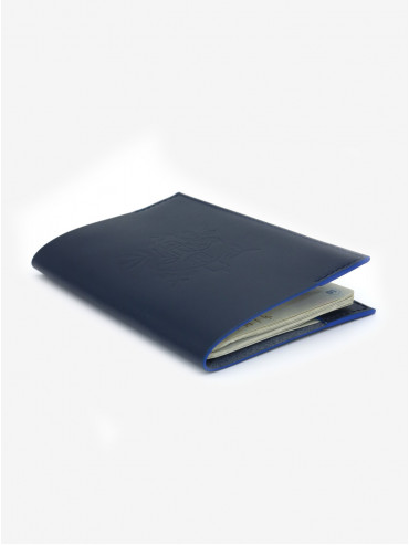 Léon Flam x Présidence de la République blue leather passport holder