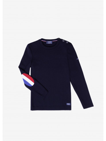 Bregancon jumper with Tricolore elbow patches - Saint James x Elysée