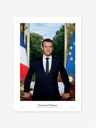 Poster - Official portrait of the French President Emmanuel Macron