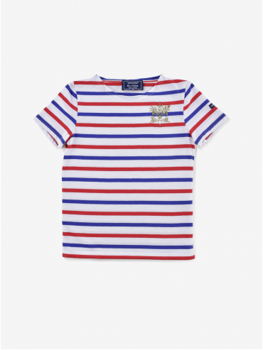 Saint James x Élysée children's short-sleeved embroidered Tricolore Breton shirt