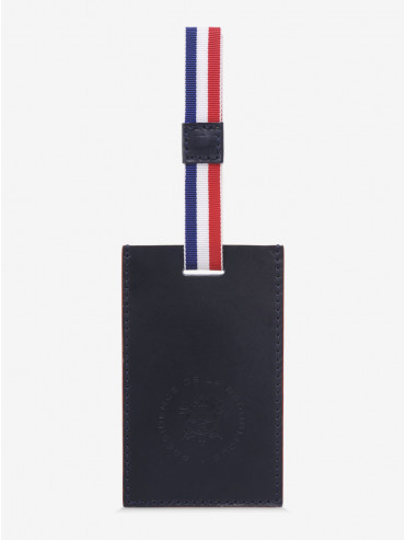 Blue and Red Leather Label Holder Leon Flam x Elysée